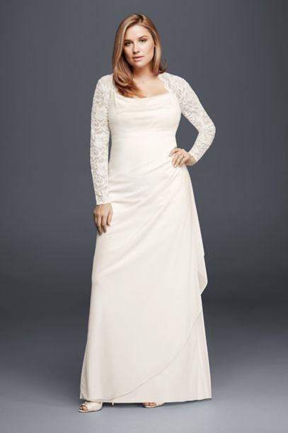 long sleeved lace mesh plus size wedding dress | david's bridal