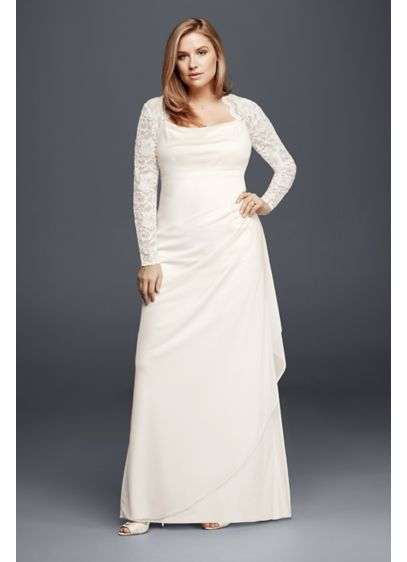 Long sleeved lace mesh plus size wedding dress david 39 s for Long sleeve plus size wedding dress