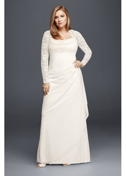 Long Sleeved Lace Mesh Plus Size Wedding Dress XS8644W