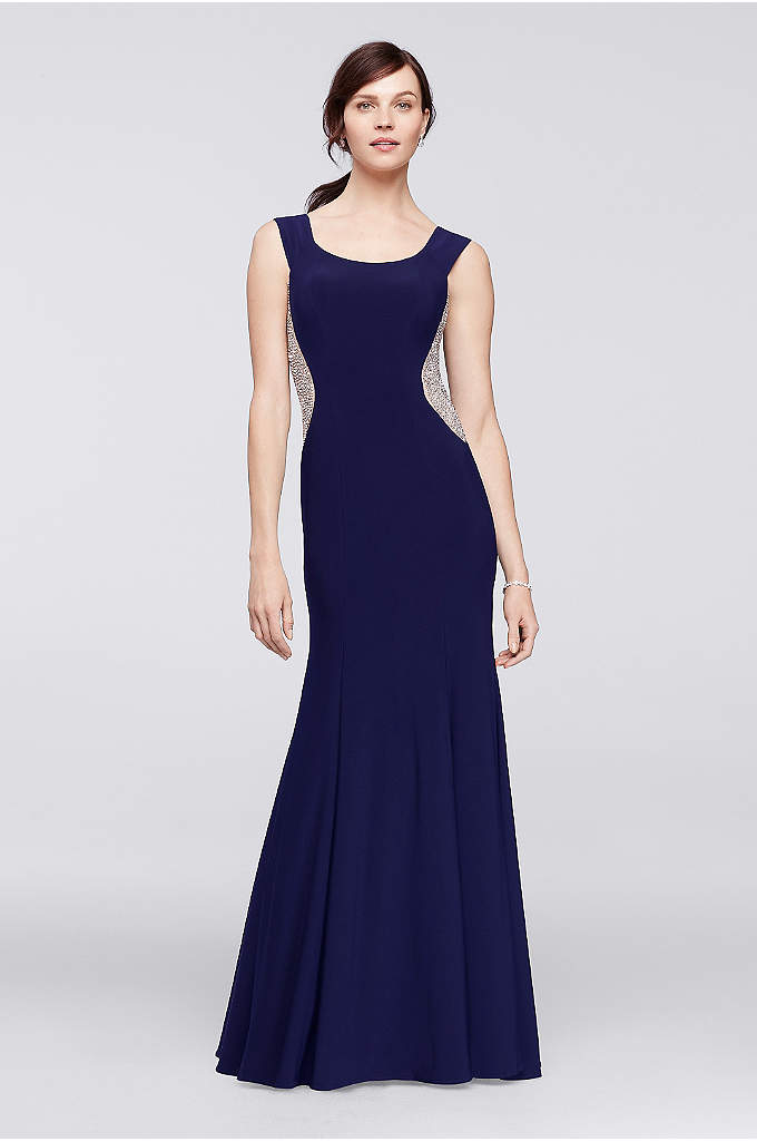 Illusion Panel Scoopneck Long Dress - Sleek and sophisticated, this demure sleeveless jersey gown