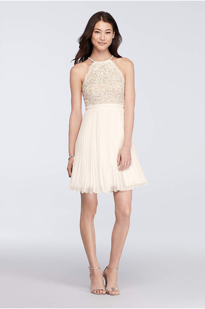Short Lace Halter Dress with Pleated Skirt - Contrasting textures make this short dress a standout