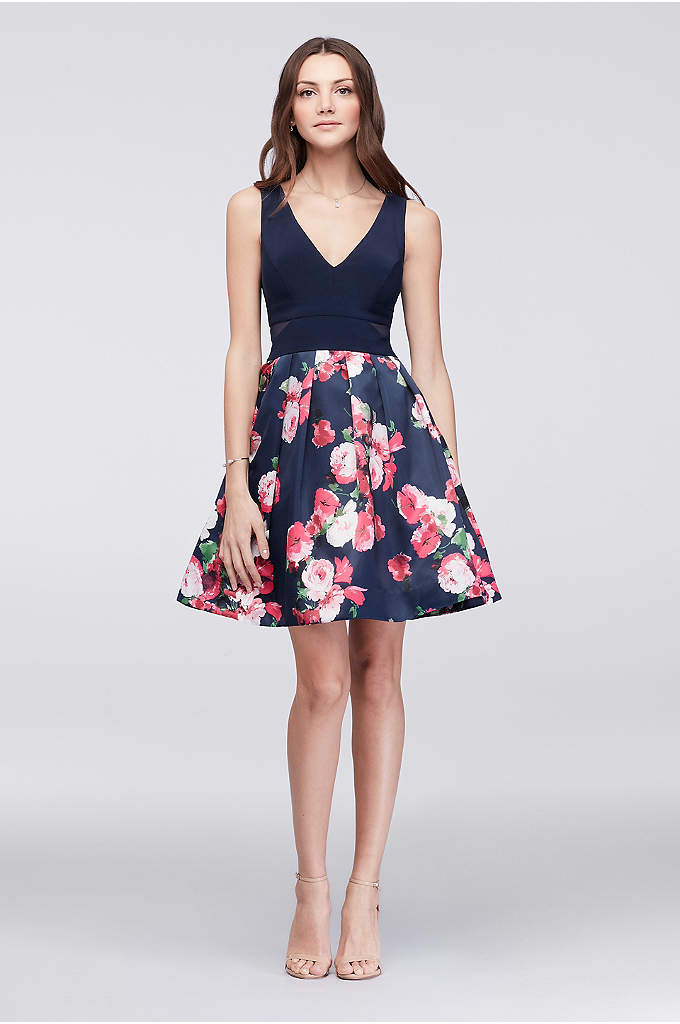 Floral Taffeta Cocktail Dress with Side Cutouts - Fun, flirty, and floral, this fit-and-flare dress is
