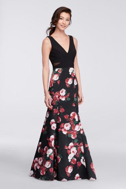 Long V-Neck Mermaid Dress with Floral Skirt - Davids Bridal