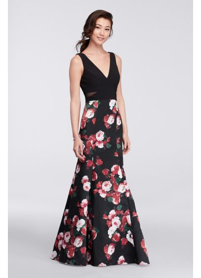 Long v neck mermaid dress with floral skirt davids bridal for Black floral dress to a wedding