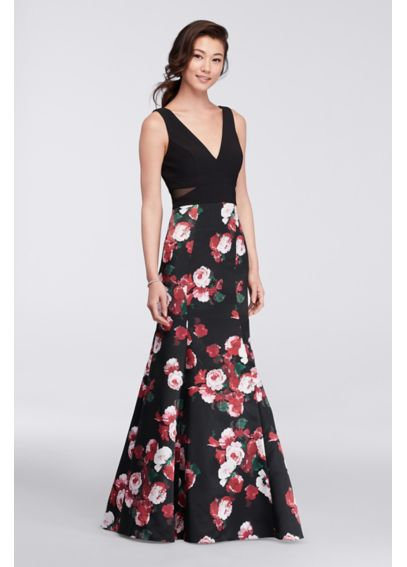 Long V-Neck Mermaid Dress with Floral Skirt XS9247