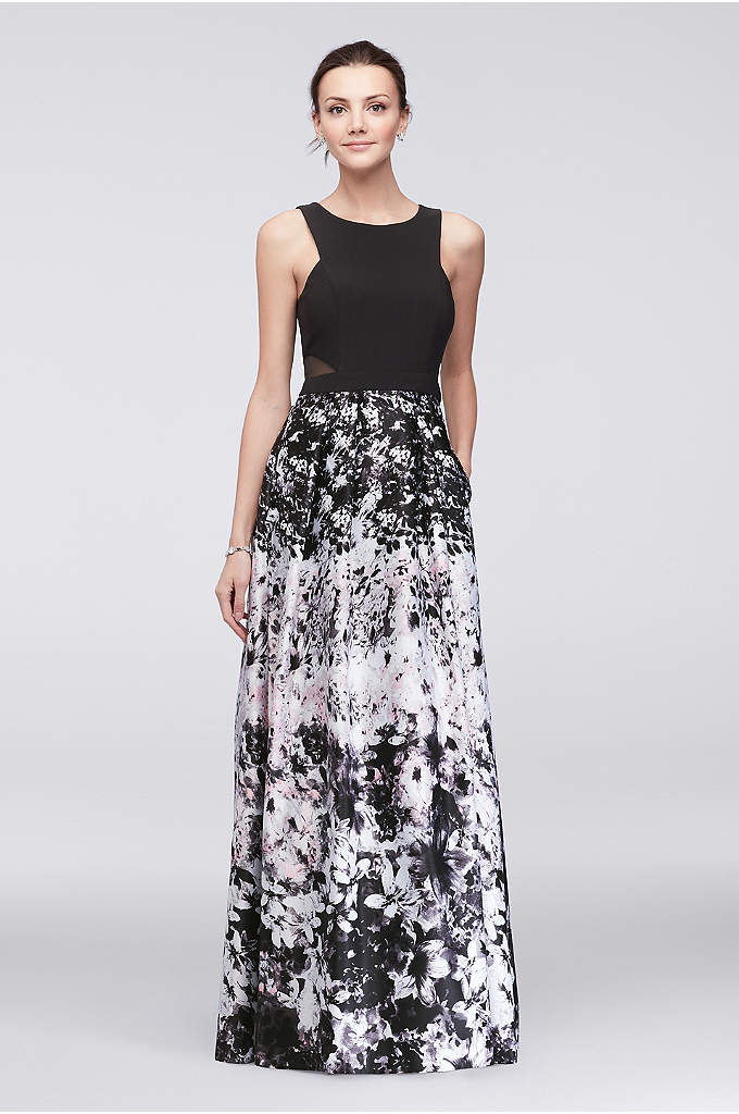 Printed Satin Ball Gown with Illusion Sides - The modern angles on the matte jersey bodice