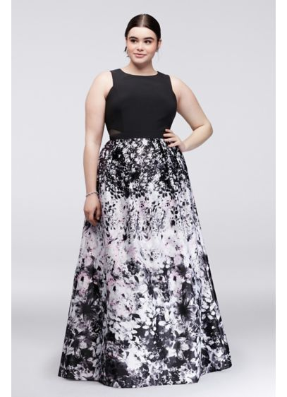 Printed plus size ball gown with illusion sides david 39 s for Size 12 dresses for wedding guests