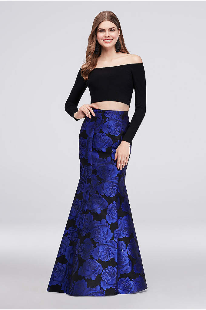 Long-Sleeve Crop Top Jacquard Mermaid Skirt Set - This two-piece set is all about glamour, from