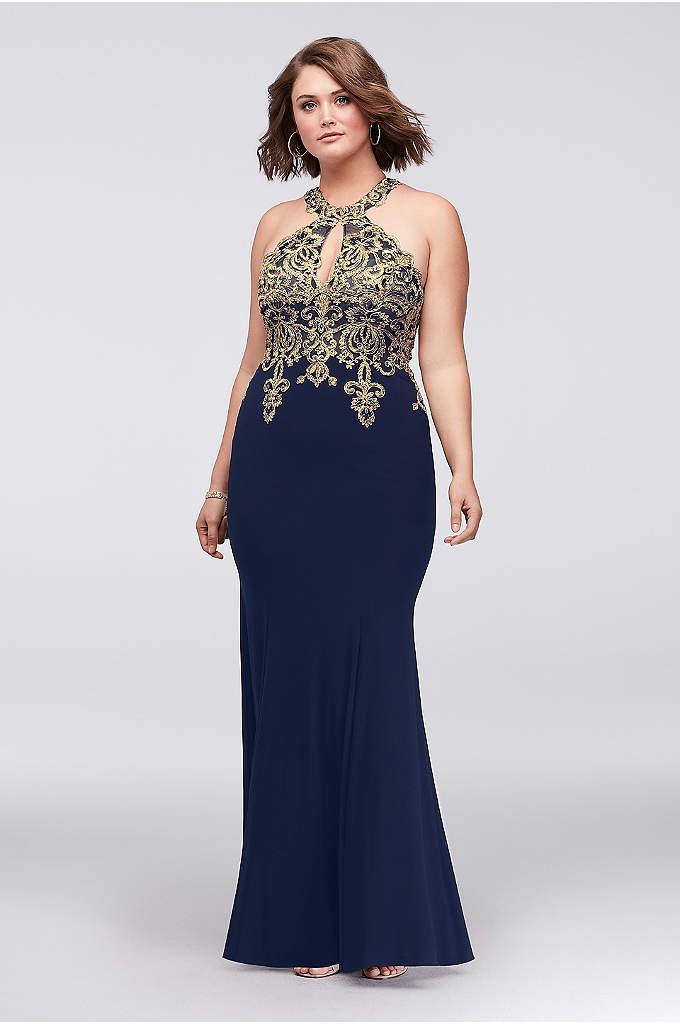Sheath Plus Size Dress with Metallic Embroidery - This halter sheath plus-size dress is designed to