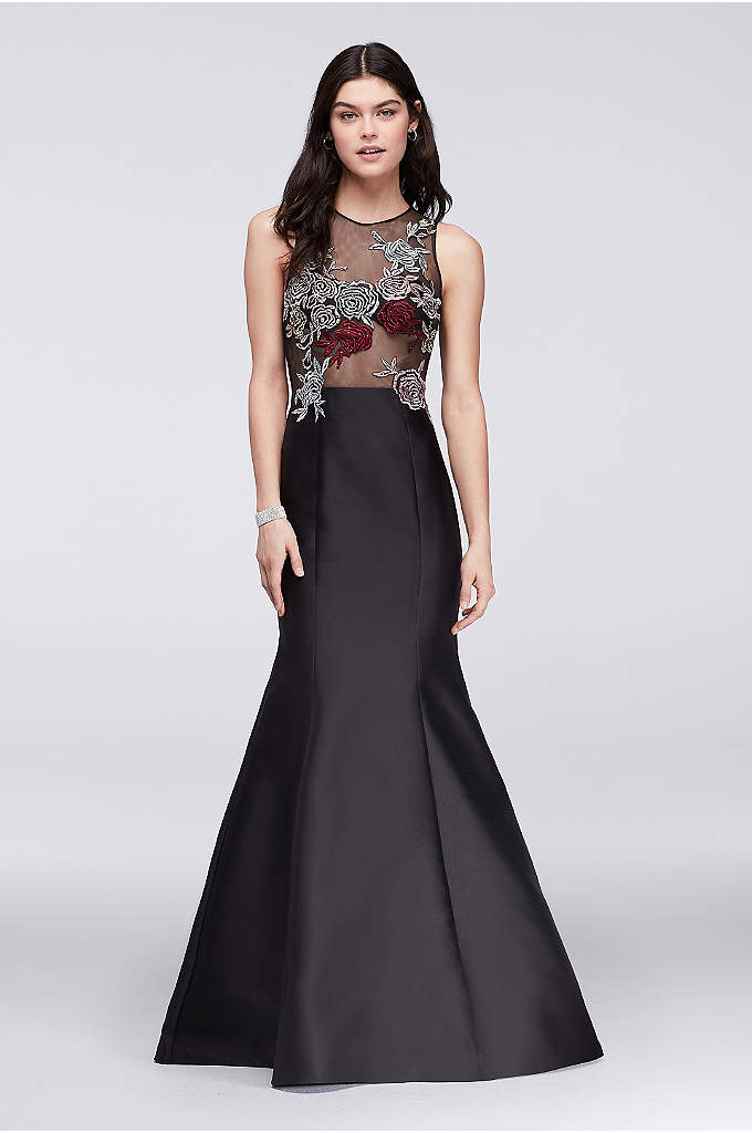 Mikado trumpet gown with embroidered illusion top