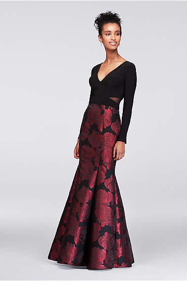 Long Sleeve Jersey and Brocade Mermaid Gown