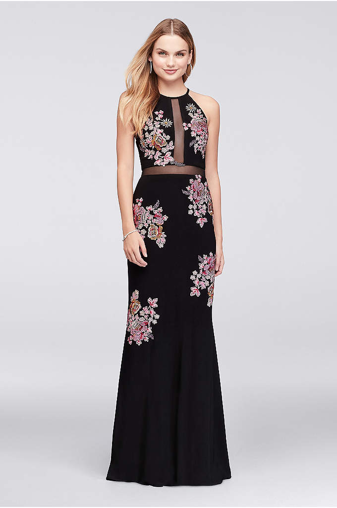 Floral Embroidered Jersey Halter Gown - Your corsage won't be the only flowers in