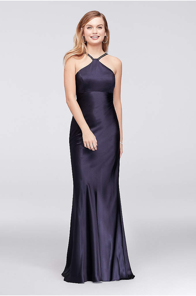 Charmeuse Halter Sheath Gown with Lace-Up Back - Clean-lined and stunning, this minimalist sheath gown is