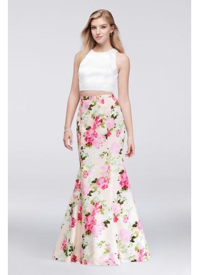 Solid Crop Top And Floral Mermaid Skirt Set David S Bridal