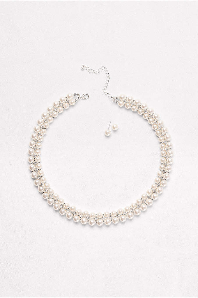 Double-Row Pearl Necklace & Earrings Set - A double-row pearl collar exudes feminine charm, especially