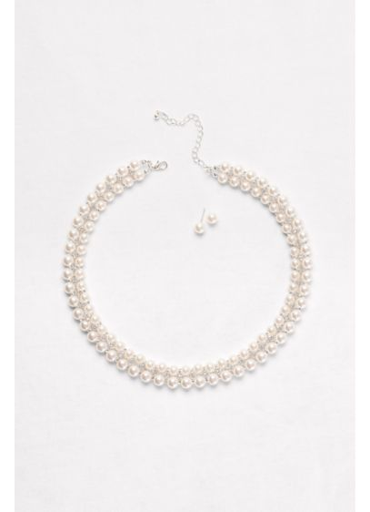 Double-Row Pearl Necklace & Earrings Set - Wedding Accessories