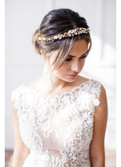 Faceted Crystal and 14k Gold Flower Halo Headband - Wedding Accessories