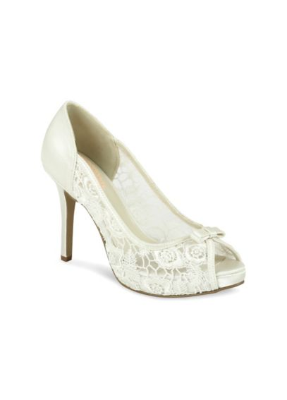 Lace Mesh Peep Toe Platform Heel with Bow ZINNIA
