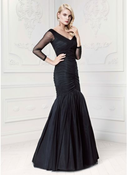 Long sleeve illusion trumpet taffeta gown david 39 s bridal for Zac posen wedding dress price