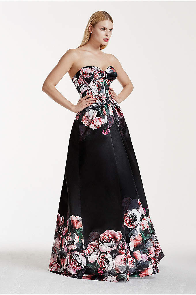 Floral Satin Dress with Corset Detailed Bodice