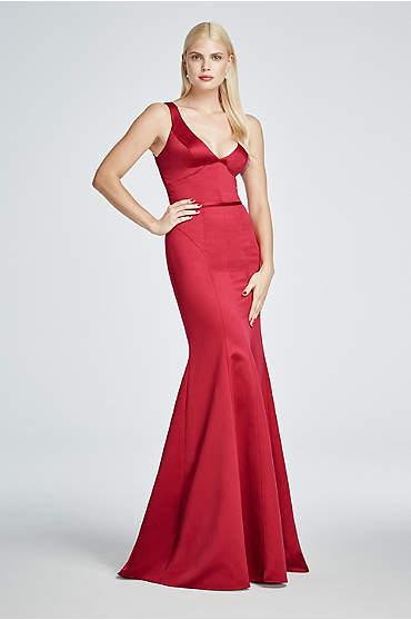 Long Satin Sleeveless Plunging V-Neck Dress