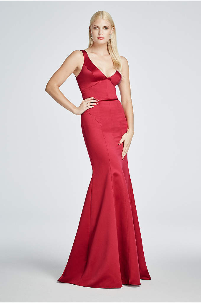 Long Satin Sleeveless Plunging V-Neck Dress - Turn up the heat at any event in