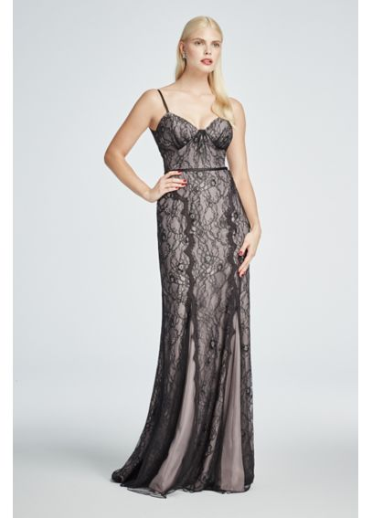 Long All Over Lace Spaghetti Strap Dress ZP281615