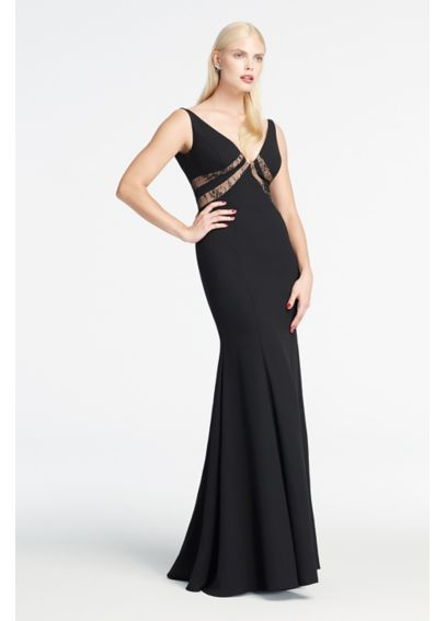 Long Deep V-Neck Dress with Illusion Inserts  ZP281619