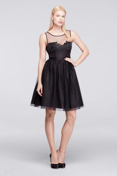 Short Sleeveless Tulle and Satin Party Dress - Davids Bridal
