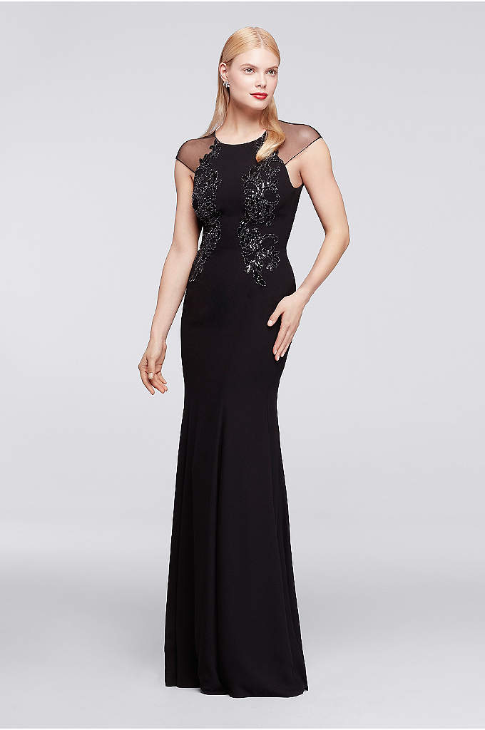 Long Dress with Sheer Cap Sleeves and Appliques - Statement appliques adorn the bodice of this gala-ready
