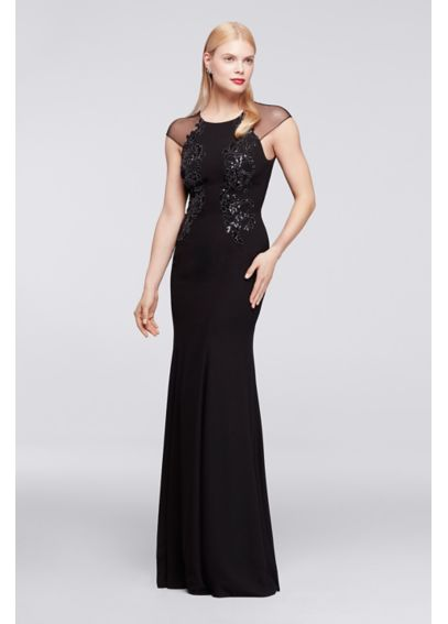 Long Dress with Sheer Cap Sleeves and Appliques ZP281656