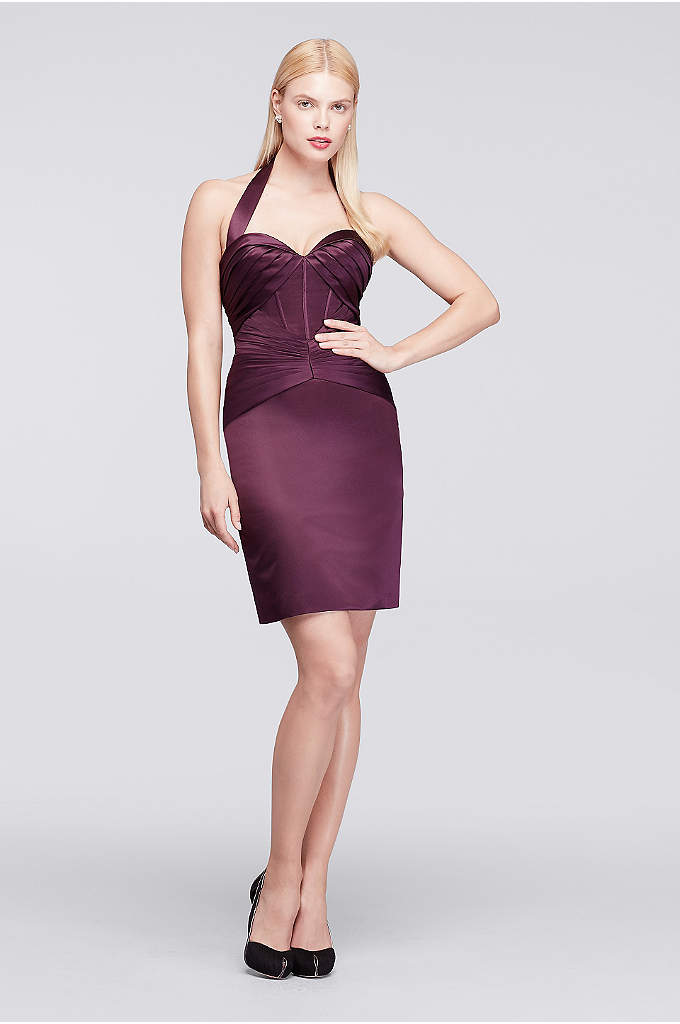 Pleated Short Satin Dress with Halter Neckline - Designer Zac Posen's signature shape-sculpting pleats define this