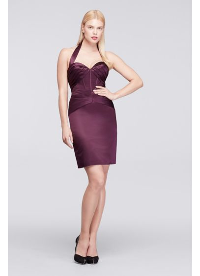 Short Purple Structured Truly Zac Posen Bridesmaid Dress