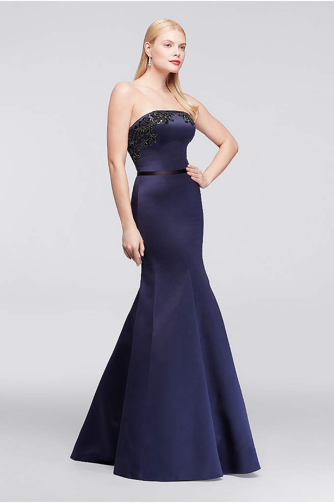 Long Strapless Satin Party Dress with Appliques - This floor-length structured satin party dress is designed