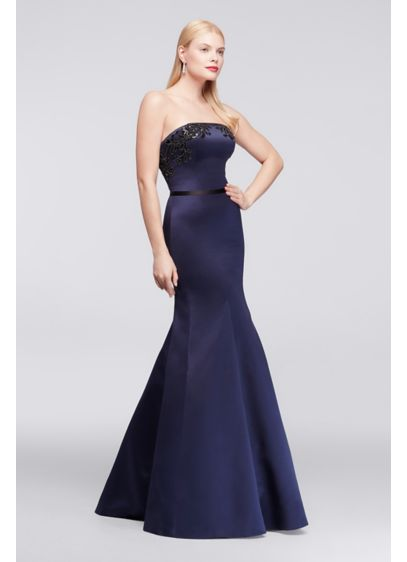 Long Blue Structured Truly Zac Posen Bridesmaid Dress