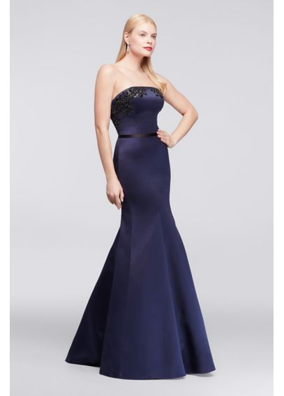 Long Strapless Satin Party Dress with Appliques ZP281663
