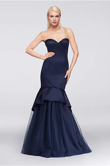 Satin Mermaid Gown with Tulle Skirt