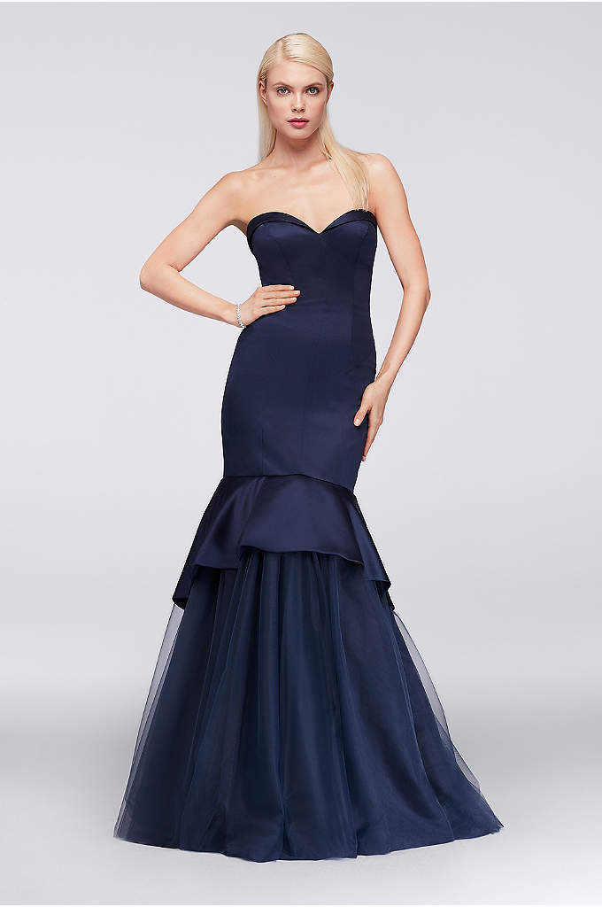 Satin Mermaid Gown with Tulle Skirt - This Truly Zac Posen satin gown brings drama