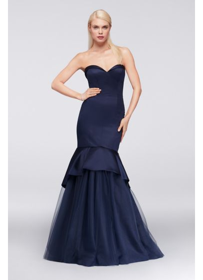 Satin mermaid gown with tulle skirt david 39 s bridal for Zac posen wedding dress price