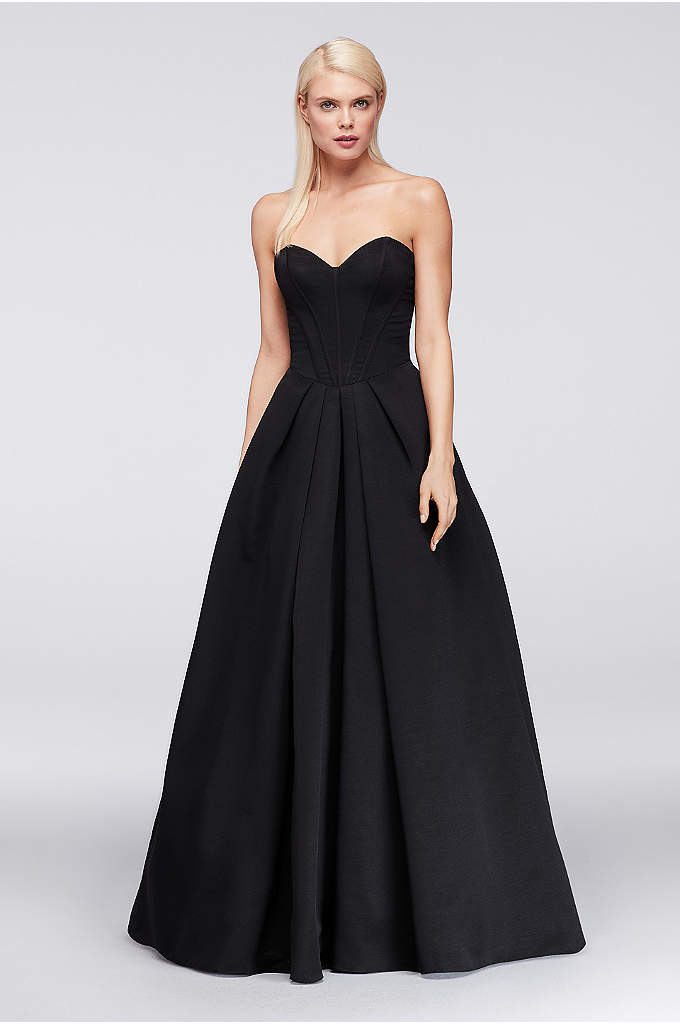Faille Ball Gown with Corset Bodice - So elegant, this textured faille ball gown from