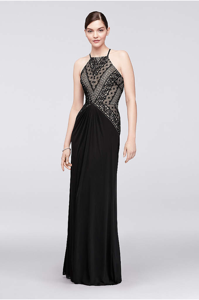 Geometric Lace and Mesh Halter Gown - A little edgy and quite a bit glam,