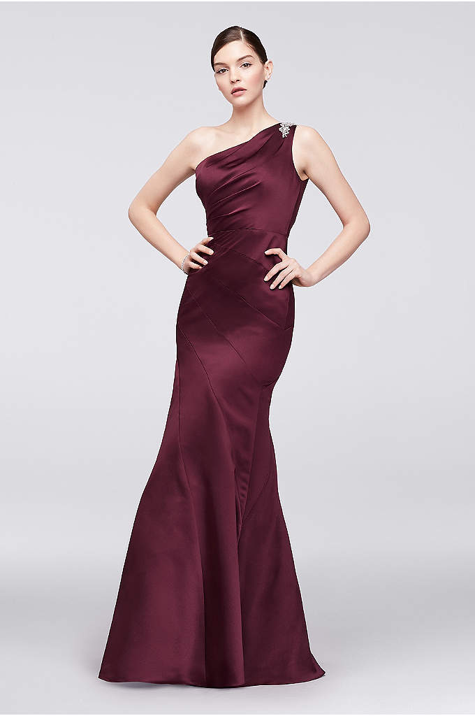 One-Shoulder Satin Trumpet Gown with Seaming - This elegant Truly Zac Posen creation features the
