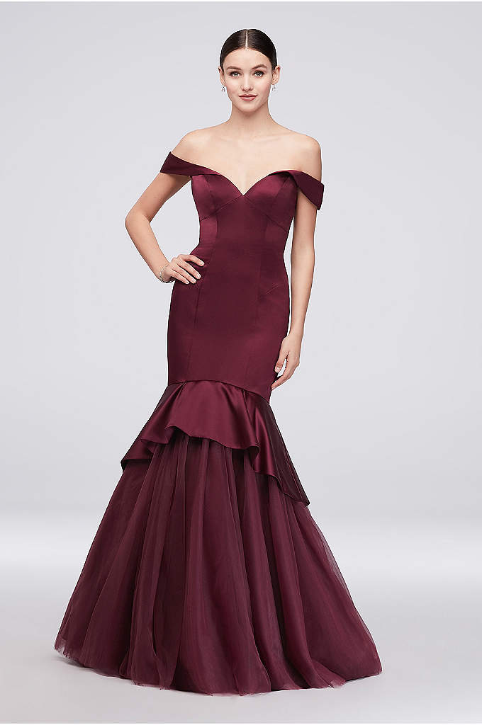 Off-the-Shoulder Satin and Tulle Mermaid Gown - This off-the-shoulder satin gown from Truly Zac Posen