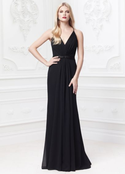 Long Soft Crinkle Chiffon Dress with Lace Back ZP285025