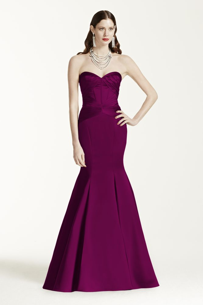 Long strapless satin fit and flare dress style zp285036 ebay for Fit and flare wedding dress body type