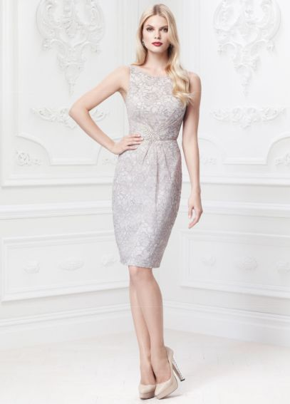 Short Lace Dress with Leaf Embellishment ZP285042
