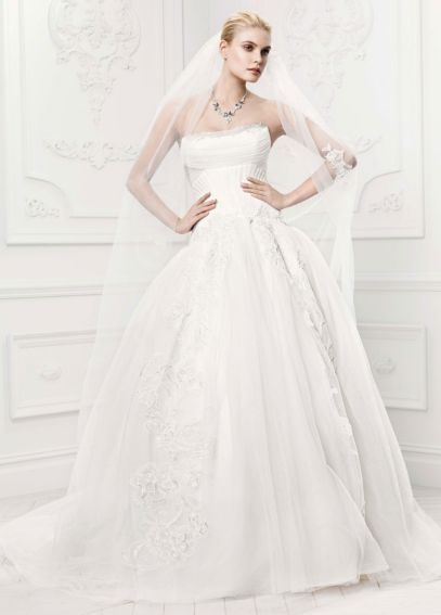 Truly zac posen tulle wedding dress with draping davids for Zac posen wedding dresses sale