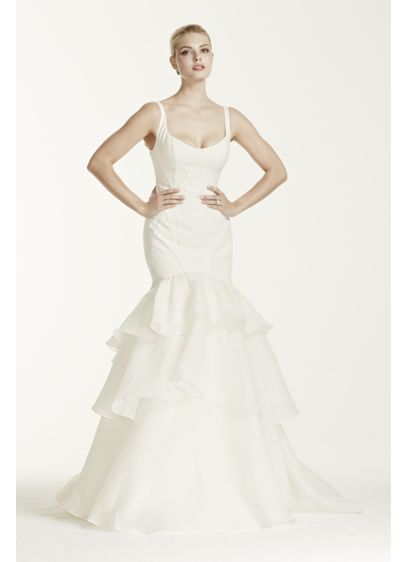 Truly zac posen tiered trumpet wedding dress david 39 s bridal for Zac posen wedding dress price