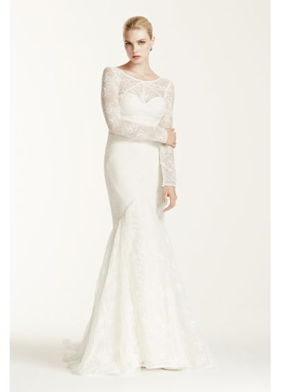 Truly zac posen lace long sleeve wedding dress davids bridal for Truly zac posen wedding dress with sequin detail