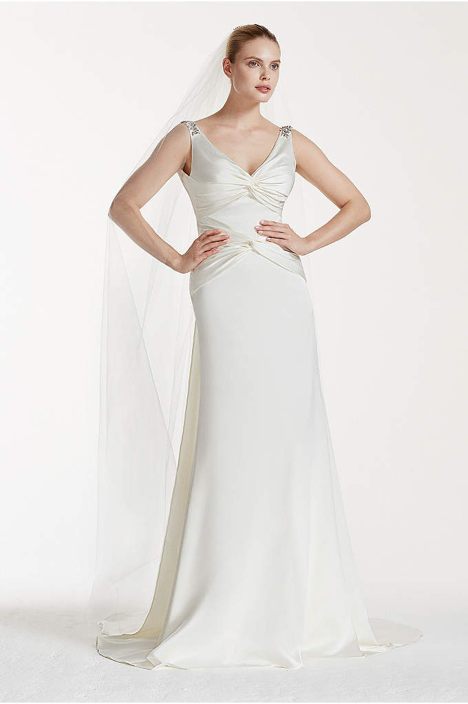 Truly Zac Posen Ruched V-Neck Satin Wedding Dress - A vintage-inspired gown with modern updates! This classic